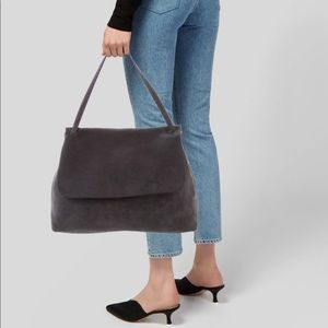 The Row Grey Suede Sidekick Shoulder Bag